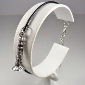 Jewelry - NAUTICAL SILVER TONE LIGHTHOUSE BLACK LTR BRACELET